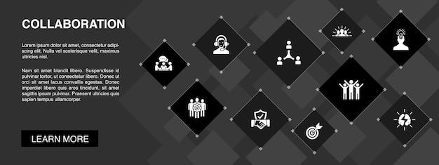 Baner współpracy 10 ikon koncepcji. praca zespołowa, wsparcie, komunikacja, motywacja proste ikony