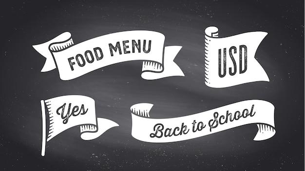 Baner wstążki. zestaw transparentu czarno-białe wstążki z tekstem, frazę. biały na białym tle starodawny starej szkoły sylwetka wstążka z tekstem menu żywności, usd, tak na tablicy czarnej kredy. ilustracja wektorowa