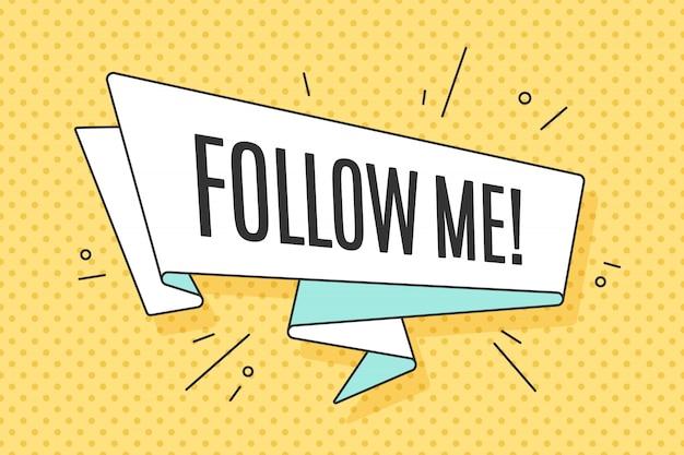 Baner wstążkowy z tekstem follow me, pop-art