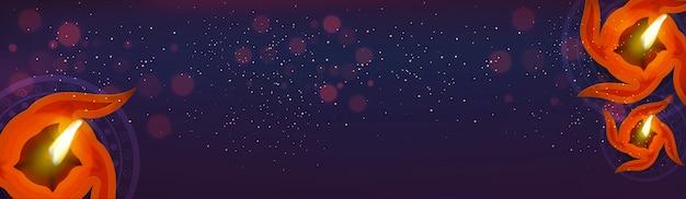 Baner www diwali z oå> wietlonymi oå> wietleniem oleju na bå,yszczę ... ce tå,o purpurowe.