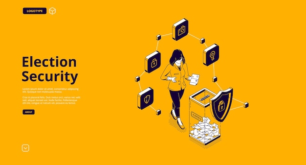 Baner wyborczy. system ochrony lokalu wyborczego do głosowania w sprawie demokracji bezpieczeństwa