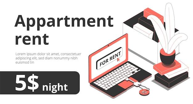 Baner wynajmu mieszkania izometryczny z kluczami elementów obszaru roboczego, laptopem i edytowalnym tekstem z wartością ceny