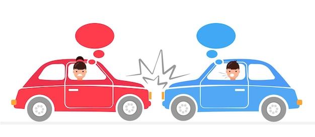 Baner wypadku samochodowego mężczyzna i kobieta kłócą się