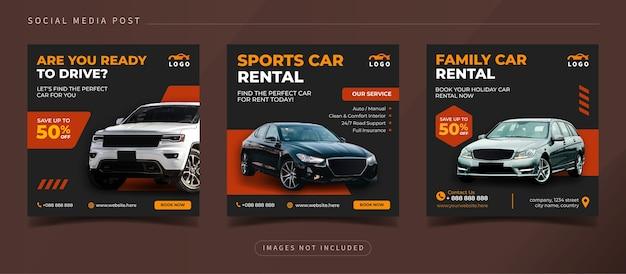 Baner wypożyczalni samochodów dla szablonu postu na instagramie w mediach społecznościowych