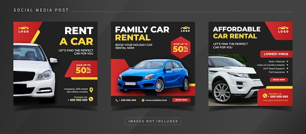 Baner wypożyczalni samochodów dla szablonu postu w mediach społecznościowych