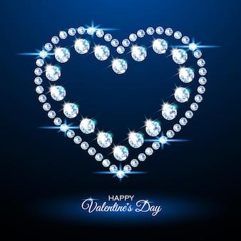 Baner z błyszczącym sercem z diamentów. romantyczna neonowa ilustracja na walentynki. realistyczny styl.