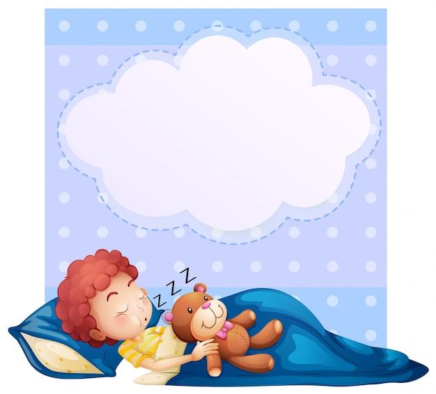 Baner z chłopakiem spania