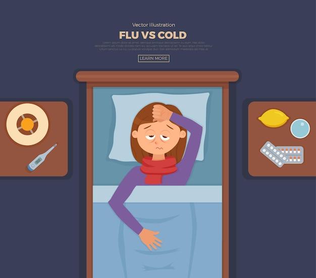 Baner z chorą dziewczyną w łóżku z objawami przeziębienia