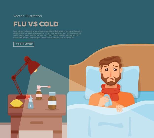 Baner z chorymi mężczyznami w łóżku z objawami przeziębienia