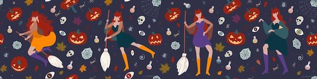 Baner z czarownicą dynie pająki halloween