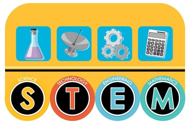 Baner z czcionką edukacyjną stem z elementami do nauki