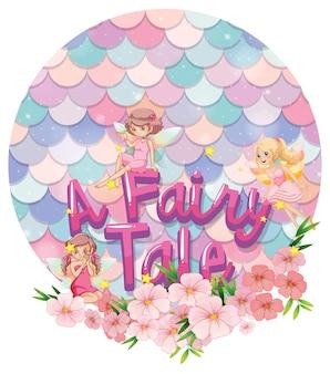 Baner z czcionką fairy tale z małymi wróżkami na tle pastelowych łusek na białym tle