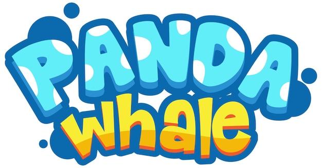 Baner z czcionką panda whale w stylu kreskówki na białym tle