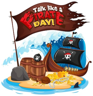 Baner z czcionką talk like a pirate day z pirackim statkiem na wyspie