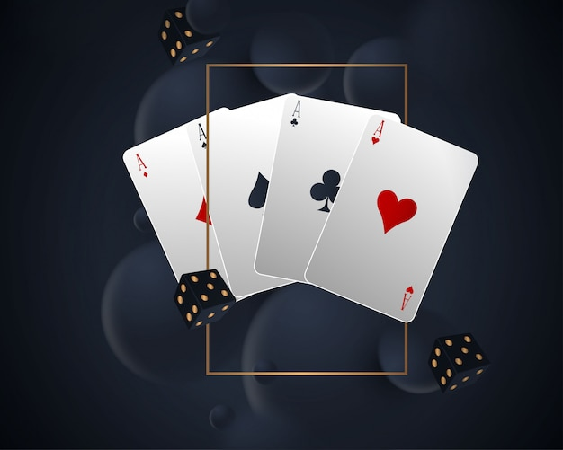 Baner z czterema asami i kilkoma kartami do gry na odwrocie