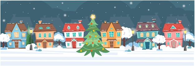 Baner z domami w zimową noc domki drzewa lampy uliczne choinka w noc bożego narodzenia