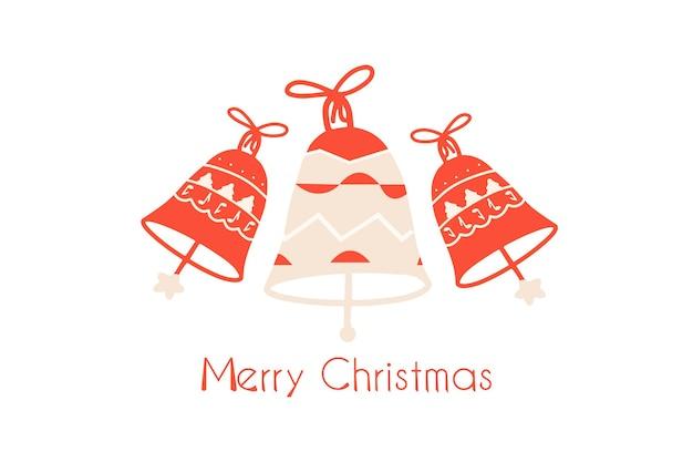 Baner z dzwonkami bożonarodzeniowymi. świąteczne tło, szablon. ilustracja wektorowa w stylu płaski