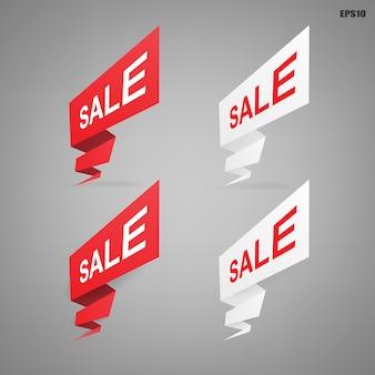 Baner z etykietą papierową na sprzedaż w specjalnej ofercie. kolorowy symbol marketingu kampanii reklamowych