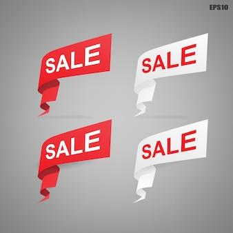 Baner z etykietą papierową na sprzedaż w specjalnej ofercie