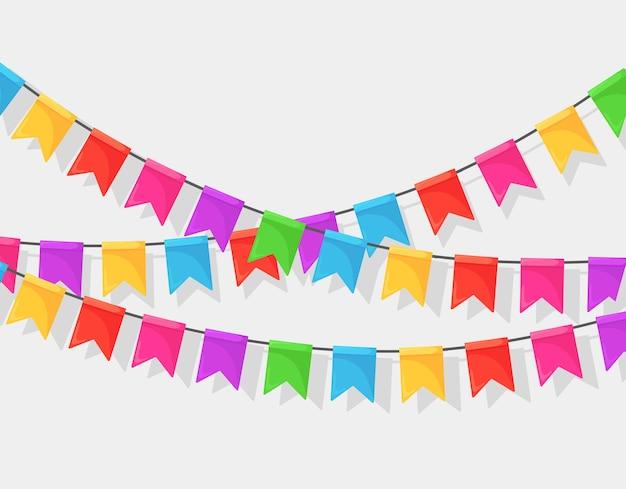 Baner z girlandą kolorowych flag festiwalowych i wstążek, trznadel na białym tle. ozdoba, symbole do świętowania wszystkiego najlepszego z okazji urodzin, karnawał, targi.