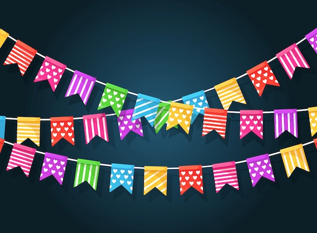 Baner z girlandą kolorowych flag festiwalowych i wstążek, trznadel. tło do świętowania wszystkiego najlepszego z okazji urodzin, karnawału, targów. płaska konstrukcja