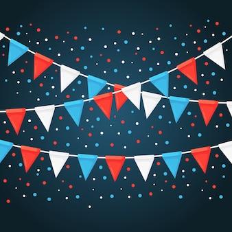 Baner z girlandą kolorowych flag festiwalowych i wstążek, trznadel. tło do świętowania wszystkiego najlepszego z okazji urodzin, karnawału, targów.