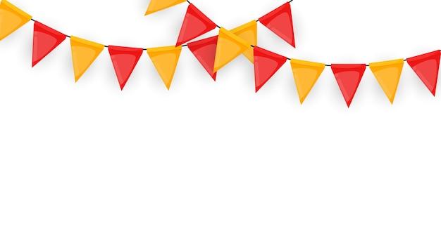 Baner z girlandą z flag i wstążek. holiday party tło na urodziny, karnawał na białym tle.