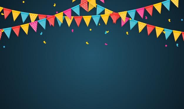 Baner z girlandą z flag i wstążek. tło wakacje na przyjęcie urodzinowe, karnawał.