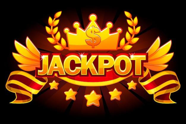 Baner z jackpotem. etykieta kasyna z koroną i czerwoną wstążką. zwycięzca jackpotu w kasynie ze złotym tekstem i wstążką. obiekty na osobnych warstwach.