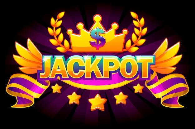 Baner z jackpotem. kasyno z etykietą z koroną i fioletową wstążką. zwycięzca jackpotu w kasynie ze złotym tekstem i wstążką. obiekty na osobnych warstwach.