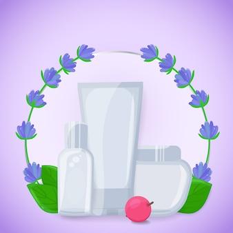 Baner z kosmetycznymi pojemnikami z kwiatami lawendy, liści i jagód. kosmetyczne produkty organiczne