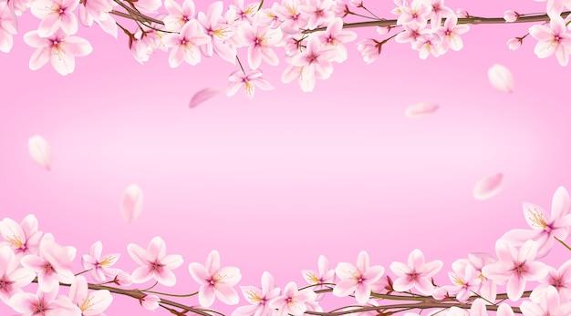 Baner z kwitnącą wiśnią na wiosnę. sakura japońska, ilustracja różowy