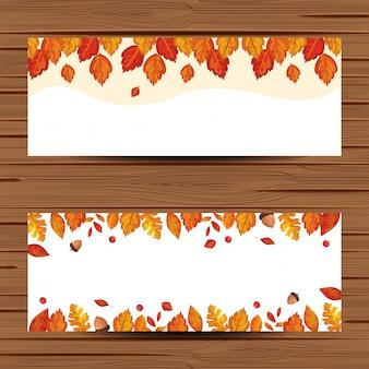Baner z liści jesienią liście
