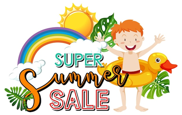 Baner z logo super summer sale z postacią z kreskówki chłopca