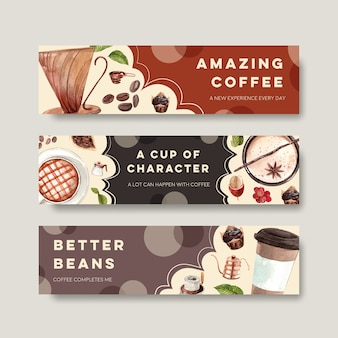 Baner z międzynarodowym projektem koncepcyjnym dnia kawy do reklamy i marketingu akwareli