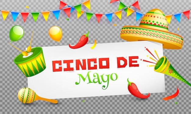 Baner z nagłówkiem uroczystości lub projekt plakatu cinco de mayo