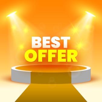 Baner z najlepszą ofertą sprzedaży na scenie podczas ceremonii wręczenia nagród z reflektorami