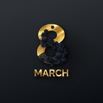 Baner Z Okazji Dnia Kobiet 8 Marca Z Czarnymi Kwiatami I Błyskotkami Premium Wektorów