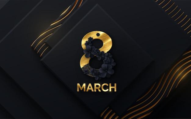 Baner z okazji dnia kobiet 8 marca z czarnymi kwiatami i błyskotkami