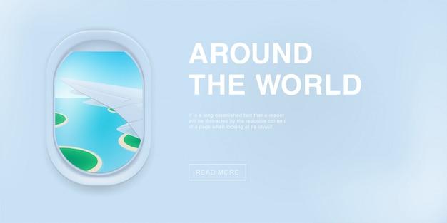 Baner z oknem samolotu. ilustracja kreskówka z miejscem na tekst.