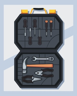 Baner z otwartym pełnym zestawem narzędzi