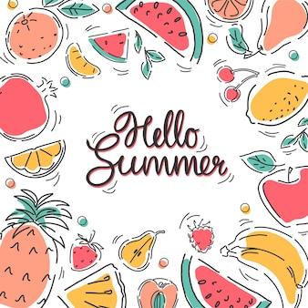 "Baner z owocami w stylu linearnym z napisem ""hello summer""."