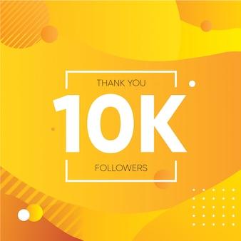 Baner z podziękowaniem za dziesięć tysięcy obserwujących w mediach społecznościowych pomarańczowy fioletowy gradient