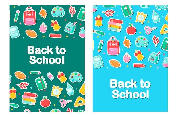 Baner z powrotem do przedmiotów szkolnych w stylu kreskówki