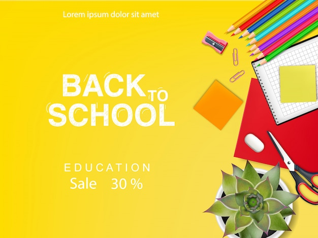 Baner z powrotem do szkoły na zniżki i oferty edukacyjne