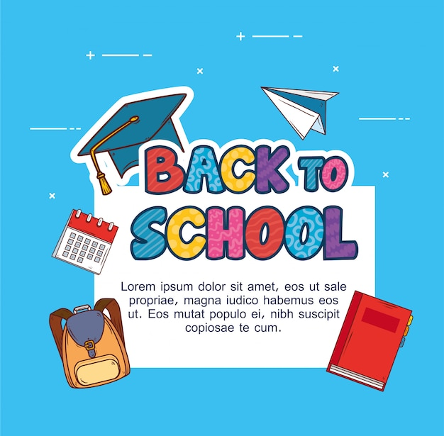Baner z powrotem do szkoły, z zestawem materiałów edukacyjnych