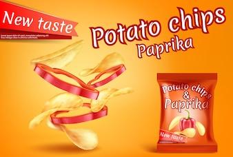 Baner z realistycznymi chipsami ziemniaczanymi i kawałkami papryki.