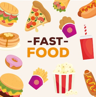 Baner z różnymi pysznymi fast foodami