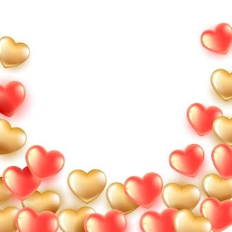 Baner z różowymi i złotymi balonami w kształcie serca. balony latają od dołu do góry.