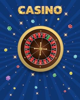 Baner z ruletką i żetonami turniejowymi w kasynie może być używany jako plakat lub reklama